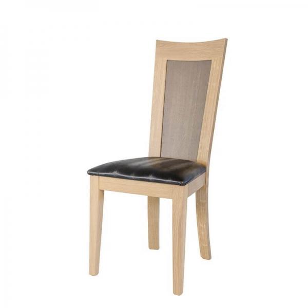 Chaise dossier bois et assise noire rembourrée - Crocus - 2