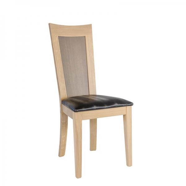 Chaise dossier bois et assise noire rembourrée - Crocus - 1