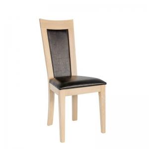 Chaise rembourrée noire structure en chêne massif style contemporain - Crocus
