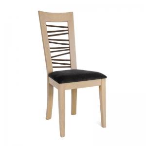 Chaise française en bois massif et tissu gris dossier à barreaux - Crocus