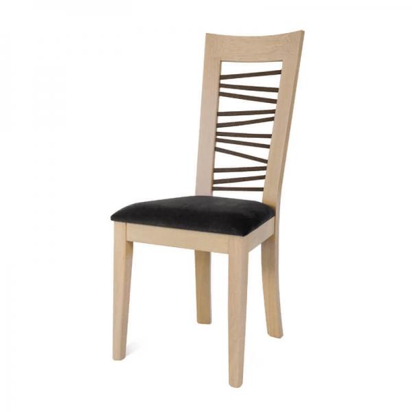 Chaise française en bois massif et tissu gris dossier à barreaux - Crocus - 2