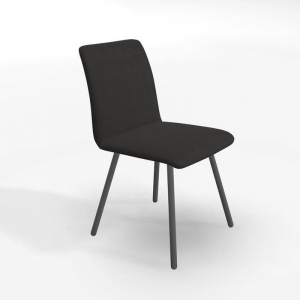Chaise en tissu noir de salle à manger - Pisa