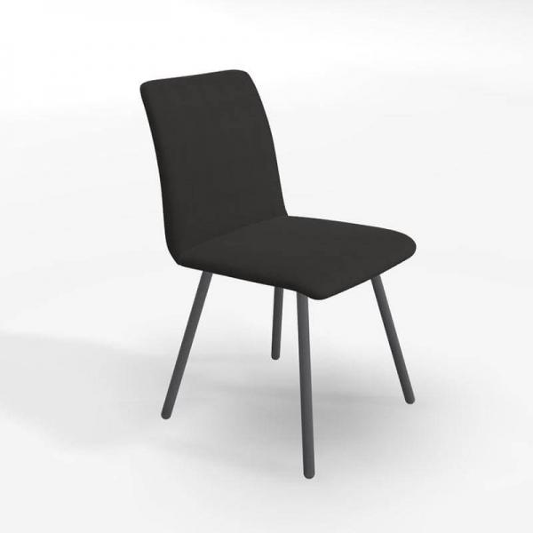 Chaise en tissu noir de salle à manger - Pisa - 1