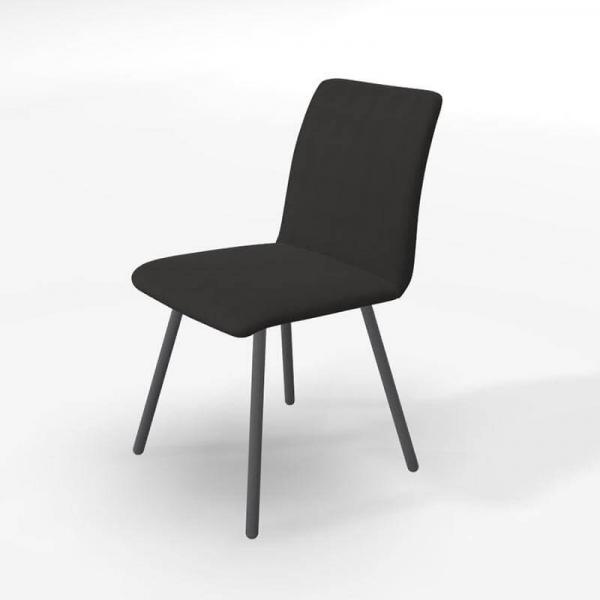 Chaise en tissu noir de salle à manger - Pisa - 5