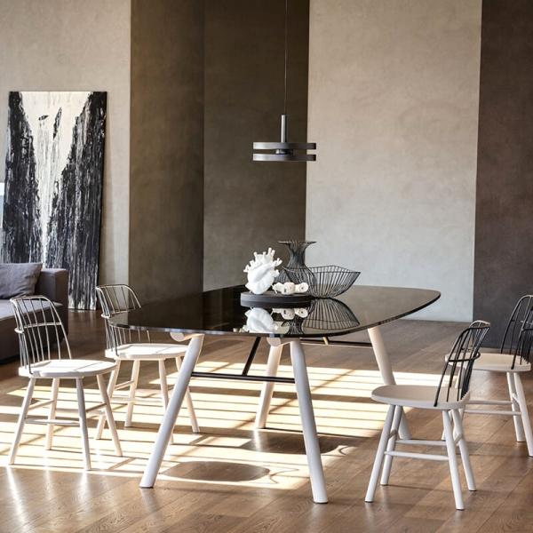 Table tendance rectangulaire en verre pieds bois - Suite Midj® - 3