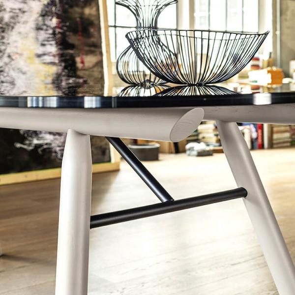 Table design Midj ® rectangulaire en verre pieds bois - Suite  - 4