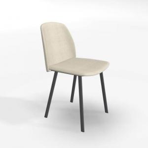 Chaise tendance en tissu beige et pieds métal - Olivia