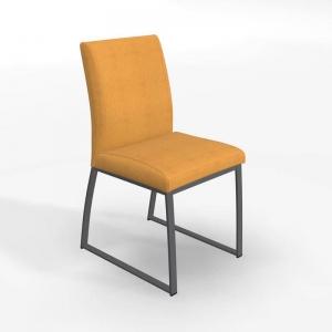 Chaise traîneau en tissu jaune rembourrée - Elite