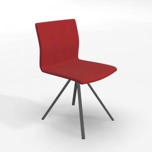 Chaise pied métal noir et revêtement en tissu rouge - Silva