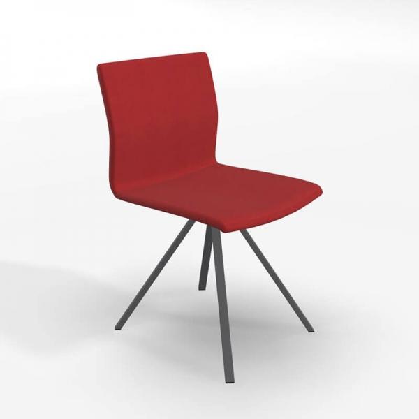 Chaise pied métal noir et revêtement en tissu rouge - Silva - 1