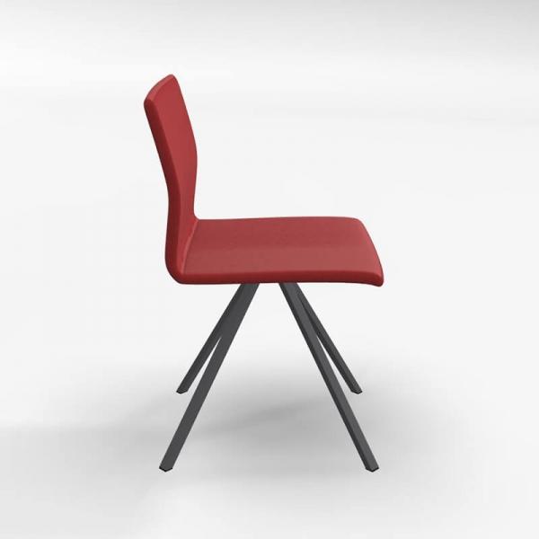Chaise design pied métal noir et revêtement en tissu rouge - Silva - 2