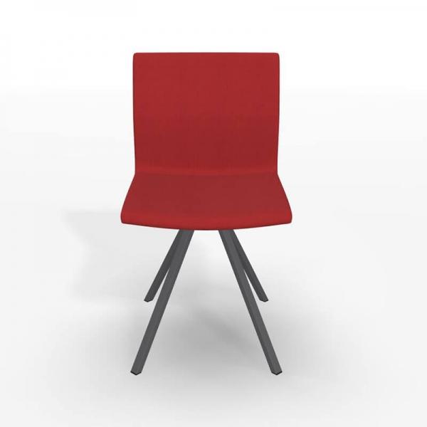 Chaise design pied noir et revêtement rouge - Silva - 3