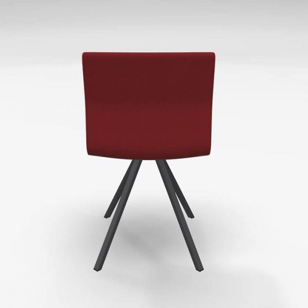 Chaise tendance pied métal noir et revêtement en tissu rouge - Silva - 5