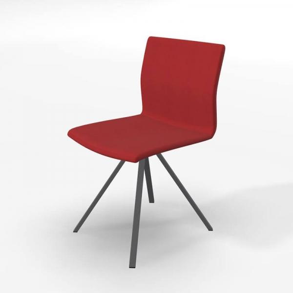 Chaise design pied noir et revêtement en tissu rouge - Silva - 4