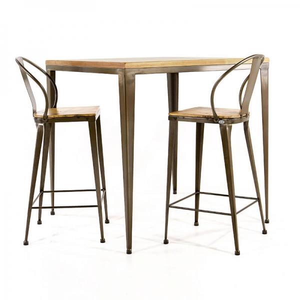 Table industrielle bois et métal - M412-90 - 1
