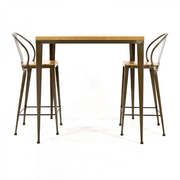 Table style industriel bois et métal - M412-90 - 5