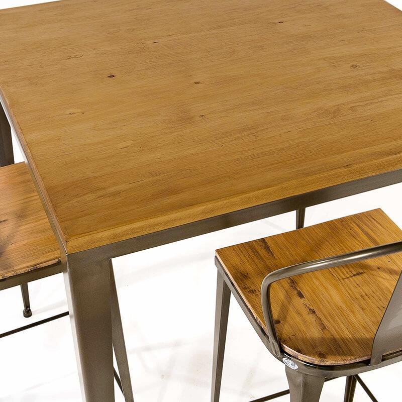 Table Industrielle Carree En Metal Et Bois M412 4 Pieds Com