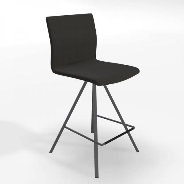 Tabouret snack design tissu noir et métal gris - BarSilva - 1