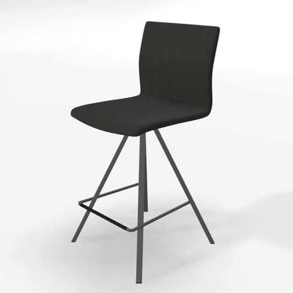 Tabouret snack design tissu noir et métal gris - BarSilva - 5