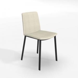Chaise moderne tissu beige et pieds métal - Primera