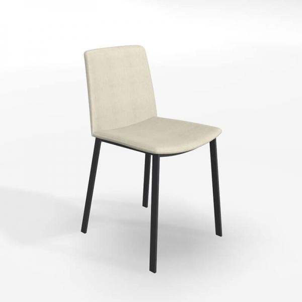 Chaise moderne tissu beige et pieds métal - Primera - 1