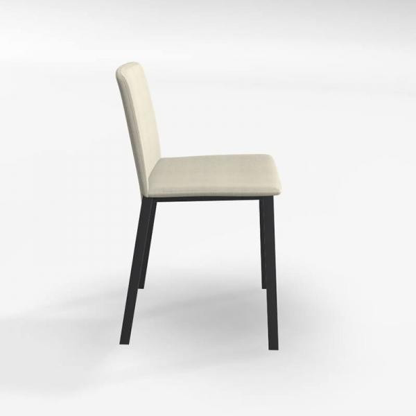 Chaise contemporaine tissu beige et pieds métal - Primera - 2