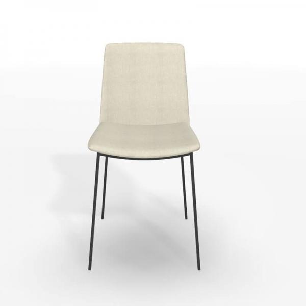 Chaise actuelle tissu beige et pieds métal - Primera - 3