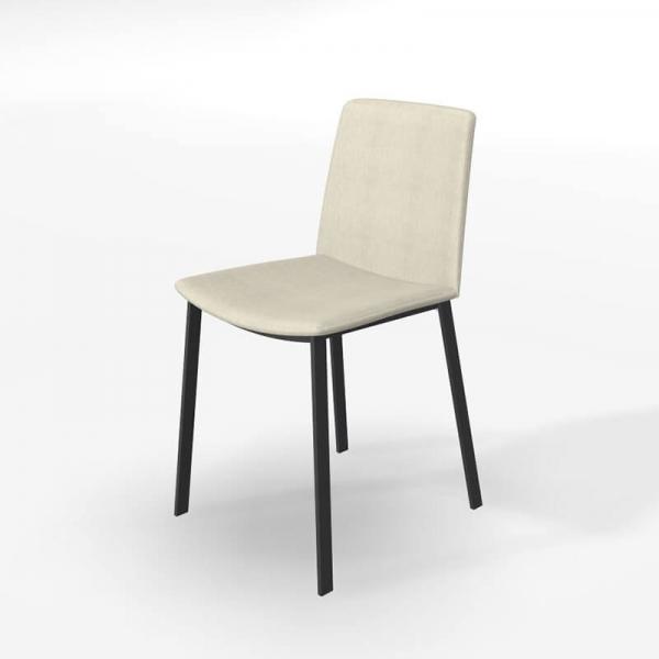 Chaise tendance tissu beige et pieds métal - Primera - 5