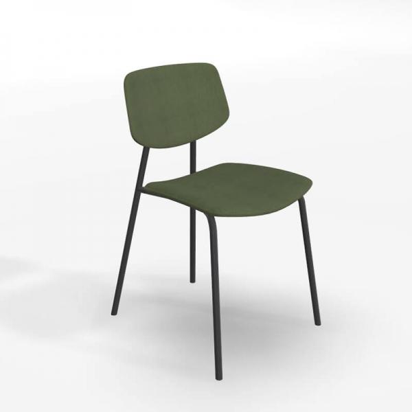 Chaise vintage en tissu vert et structure métal - Lago - 1