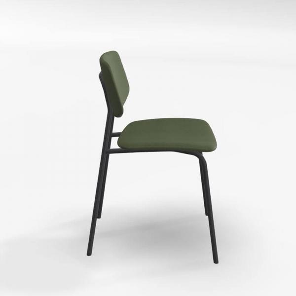 Chaise rétro en tissu vert et structure métal - Lago - 2