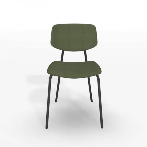 Chaise style vintage en tissu vert et structure métal - Lago - 3