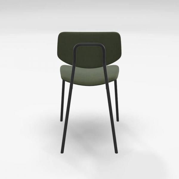 Chaise design vintage en tissu vert et structure métal - Lago - 4