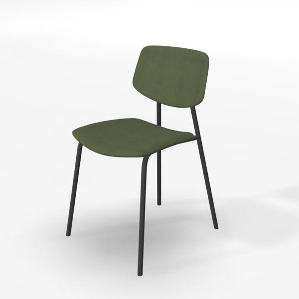 Chaise design rétro en tissu vert et structure métal - Lago - 5