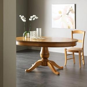 Table ronde extensible en chêne massif style Louis Philippe - Quadripode