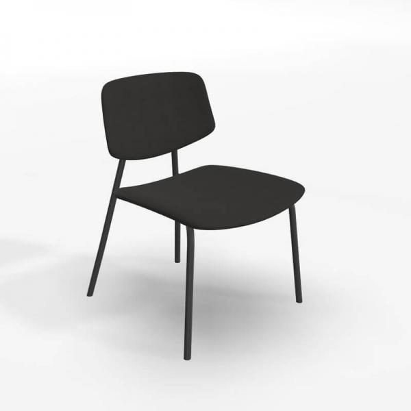 Chaise basse vintage en tissu noir - Lago - 2