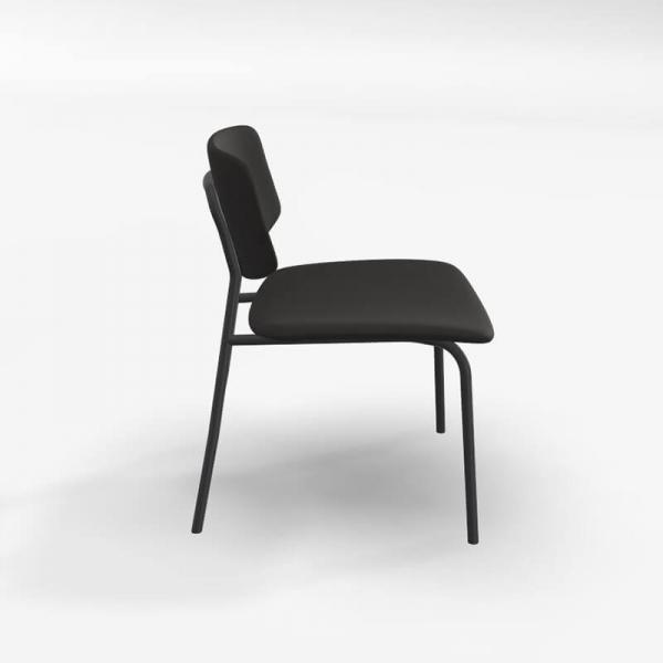 Chaise basse rétro en tissu noir - Lago - 3