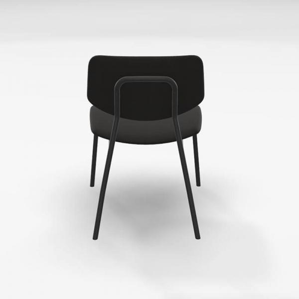 Chaise basse design vintage en tissu noir - Lago - 5