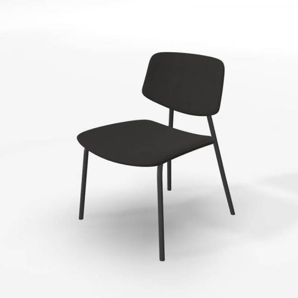 Chaise basse style rétro en tissu noir - Lago - 6
