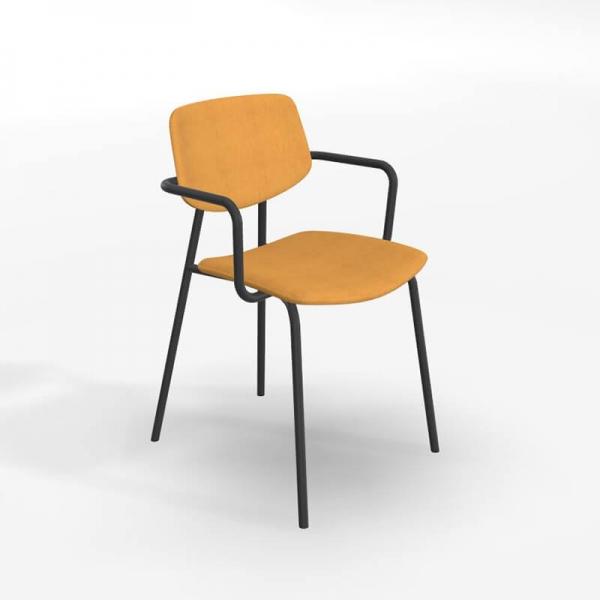 Chaise avec accoudoirs rétro et revêtement en tissu jaune doré - Lago - 1