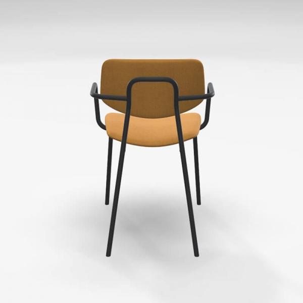 Chaise avec accoudoirs vintage et revêtement en tissu jaune doré - Lago - 4