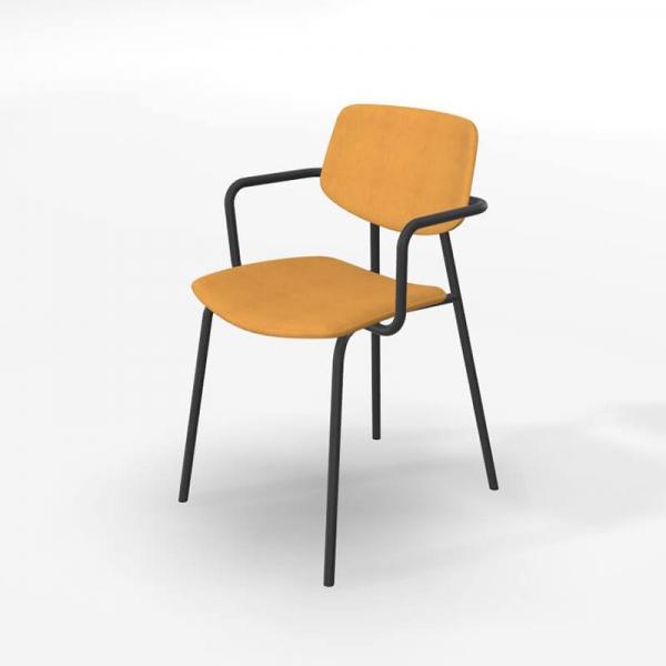 Chaise avec accoudoirs design vintage et revêtement en tissu jaune doré - Lago - 5