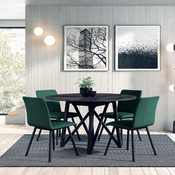 Chaise en tissu vert de salle à manger - Pisa - 6