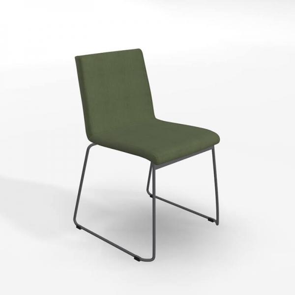 Chaise traîneau en tissu vert rembourrée - Como - 1