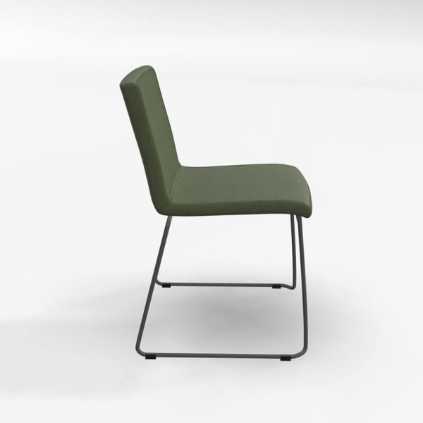 Chaise pieds forme traîneau en tissu vert rembourrée - Como - 2