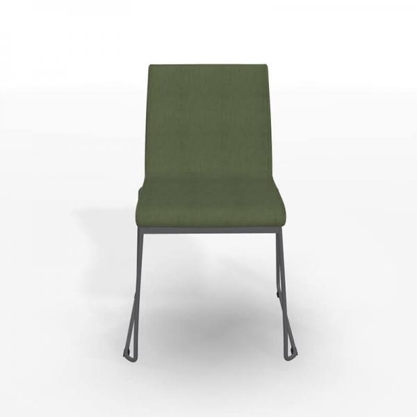 Chaise pieds traîneau en tissu vert rembourrée - Como - 3