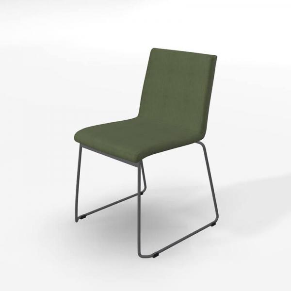 Chaise traîneau rembourrée en tissu vert rembourrée - Como - 5