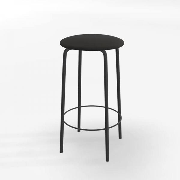 Tabouret sans dossier assise en tissu noir rembourrée - Nantes - 2