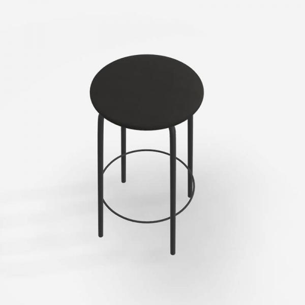 Tabouret hauteur 65 cm sans dossier assise en tissu noir rembourrée - Nantes - 3