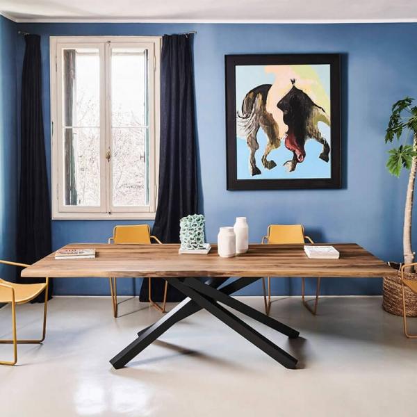 Table design en bois piétement mikado en métal - Pechino Midj® - 1