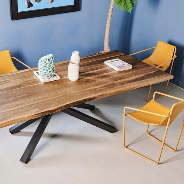 Table design en bois piétement mikado en métal - Pechino Midj® - 2